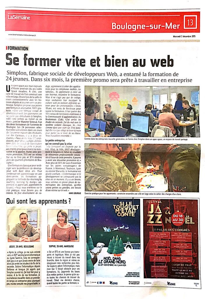 Article Semaine dans le Boulonnais Simplon Boulogne Inauguration