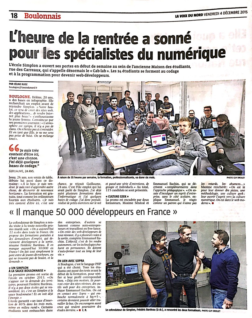 Article Voix du Nord Simplon Boulogne Inauguration